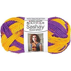 Coats Yarn Red Heart Boutique Sashay Team Spirit Yarn, Purple/Gold