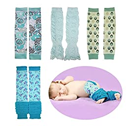 Huggalugs Variety 4-Pack Baby Girls Aqua Variety Legwarmers Infant