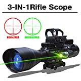 Tactical 3 IN 1 AR15 Rifle Scopes 4-16X50EG Dual Ill Optical Reticle with Holographic Unlimted R&G Dot Sight W/ Green Laser for Hunting Mount(24 Month Warranty)