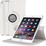 EnGive 360°Drehbares Ledertasche iPad Air 2 Hülle Schutzhülle Case Tasche mit Ständerfunktion Auto Sleep/Wake-Funktion (iPad air 2, Weiß)