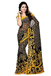 JMT Women's Georgette  Saree ( JMT117 _ Black )