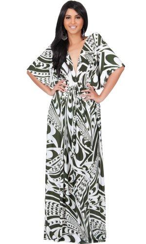Koh Koh Women's Kimono Sleeve Retro Long Graphic Print Maxi Dress – Olive Green & White