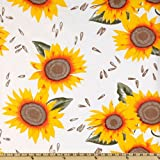 Oil Cloth Sunflower Yellow/White Fabric