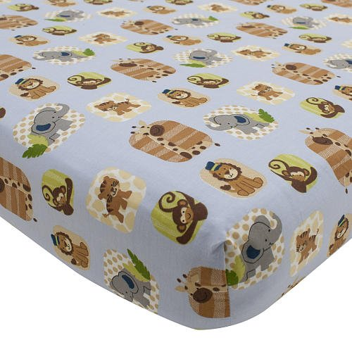 Lambs and Ivy Crib Sheet- Safari Express - 1