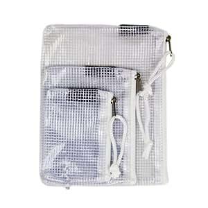 Set of Three Mesh Storage Plastic Bags with White Zipper, Camera Accessory