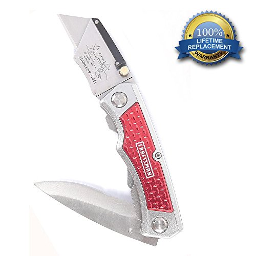 Craftsman Twin-Blade Lockback Folding Pocket Knife - Ideal Hunting, Camping, Fishing Freight Packaging Utility Knife - Comes With A Partially Serrated Knife Blade And Also The Changeable Razor Cutter Blade - Backed By Our Lifetime Replacement Guarantee!!!