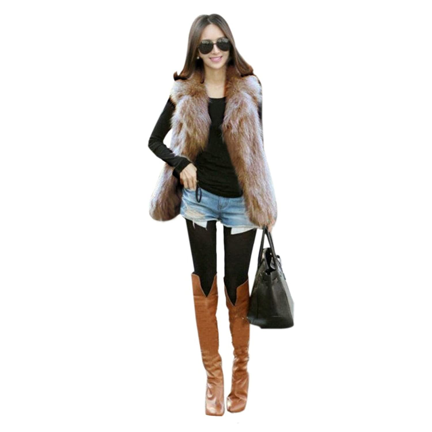 Etosell Women Faux Fox Fur Shaggy Waistcoat Long Hair Lapel Vest Coat Camel L cjiaba 003 men s skeleton pu band self winding mechanical analog wrist watch black white