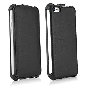 BoxWave Leather Flip Apple iPhone 5c Case - Slim Vertical Flip Cover Leatherette Case, made with Synthetic Leather - Apple iPhone 5c Cases and Covers (Nero Black)