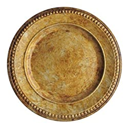 ChargeIt by Jay Beaded Round Charger Plate, 14-Inch, Gold