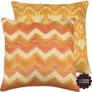 "Rainbow Sherbet Collection - 20"" Square Reversible Decorative Pillow Cover - Chevron, Ikat - Orange, Yellow, Pink, Cream Hues - 1 Cover, 2 Looks"