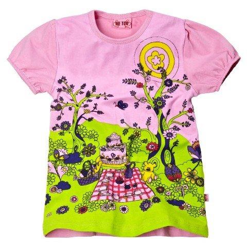 Me Too Girls Peta Mini Teddy Bear's Picnic Tunic - Bloom (Pale Pink Trim)
