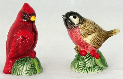 Fitz and Floyd Santa's Forest Friends Salt & Pepper Shaker Set Birds Cardinal #29-222