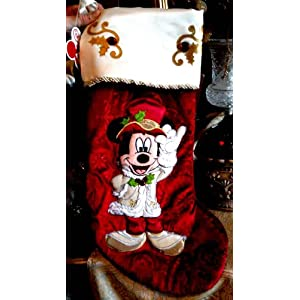 disney park mickey mouse victorian christmas holiday stocking new best price - Mickey Mouse Christmas Stocking