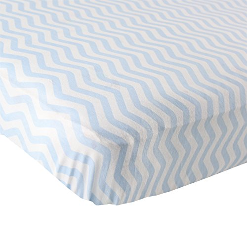 Luvable Friends Fitted Knit Cotton Crib Sheet, Blue Chevron (Crib Sheet Fitted compare prices)