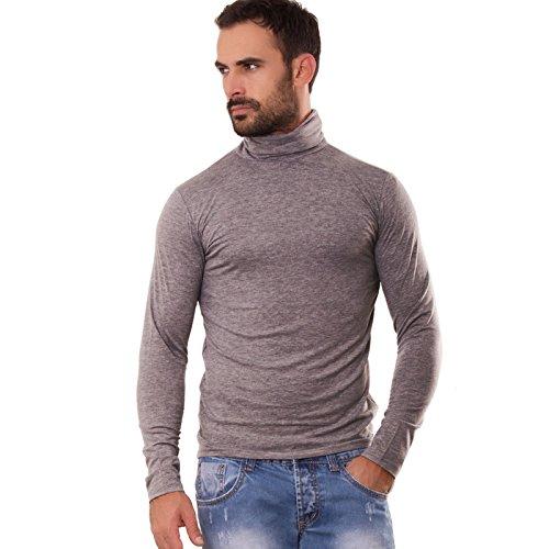 Toocool - Lupetto uomo maglia manica lunga dolcevita felpato collo alto nuovo M1256A [L,grigio]