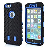 Meaci® Cellphone Case for Iphone 6 Plus 5.5 Inch Case 3in1 Tire Stripe Combo Hybrid Defender High Impact Body Armorbox Hard Pc&silicone Protective Bumper Case (Tire navy blue)