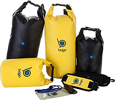 Bago Dry Bags Set - SEE-THROUGH Window Waterproof 100% SATISFACTION GUARANTEED. Plus Cell Phone Bag, Adjustable Shoulder Strap. Fits in your Backpack, Sailing ... Lightweight & Heavy Duty (10L 5L B/Y