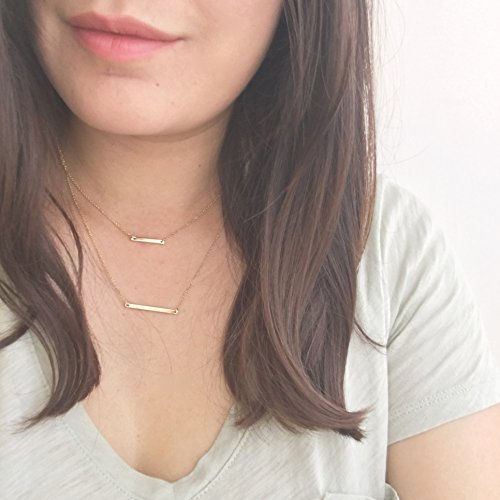 HONEYCAT-24k-Gold-Double-Bar-Layered-Long-Chain-Necklace-Celebrity-Style-Minimalist-Delicate-Jewelry