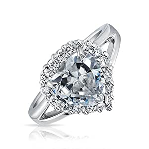 Bling Jewelry 925 Sterling Silver CZ Heart Engagement Ring