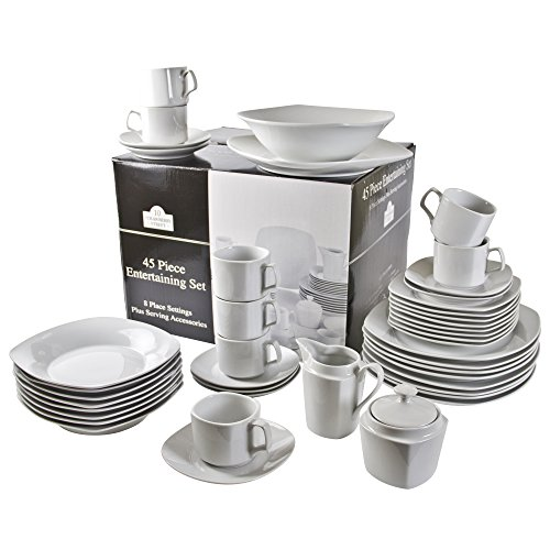 10 Strawberry Street 45-Piece Square Dinnerware Set, White (Dinnerware Sets Service For 10 compare prices)