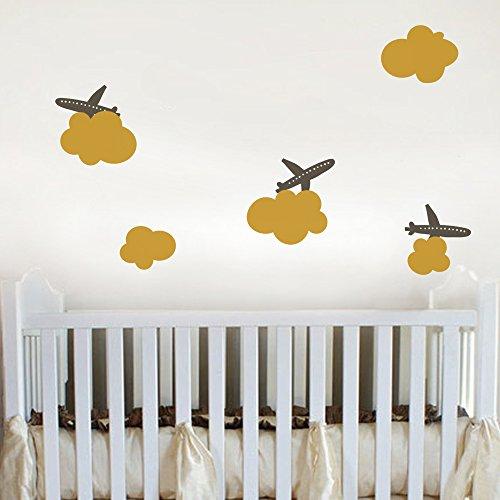 GECKOO Airplane Wall Decals Clouds Decor Children Art Mural Nusery Art D¨¦cor ( Medium, Option B: Airplanes- Dark Brown£»Clouns Set- Light Yellow)