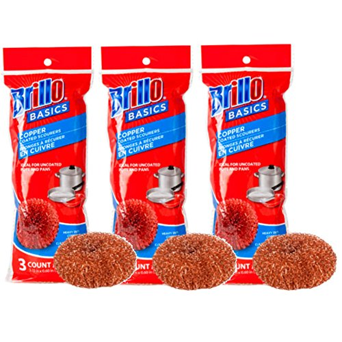 Brillo Basics Heavy Duty Copper Scourers, 3 Count, Pack of 3 (Total of 9) (Copper Scrubber Pads compare prices)