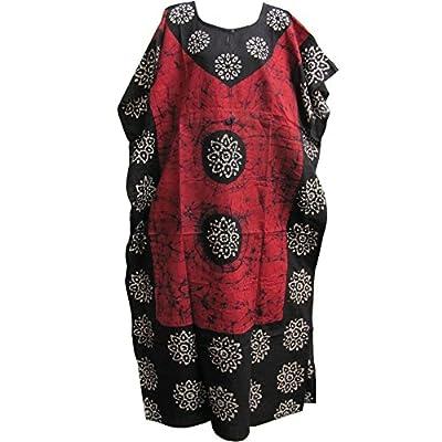 Indian Cotton Batik Paisley Floral Red/Black Bohemian Long Caftan/Kaftan #07