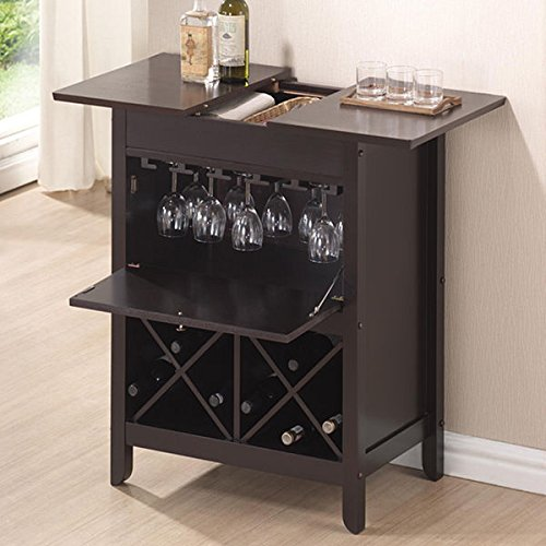 Baxton Studio Agaue Modern and Contemporary Dark Brown Wood Dry Bar and Wine Cabinet (Iron Wine Cabinet compare prices)