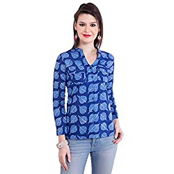 TUNTUK Women's Ananya Shirt Blue Cotton Shirt