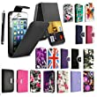 FOR APPLE IPHONE 4 4S VARIOUS PU LEATHER MAGNETIC FLIP CASE COVER POUCH + FREE STYLUS (Black)