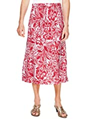 Classic Collection Tonal Floral & Leaf Print Belted Skirt