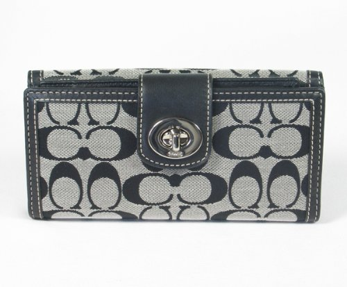 Coach Signature Hamptons Turnlock Checkbook Long Wallet 43613 Black White