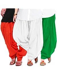 Women's ORANGE-WHITE-GREEN Cotton Patiala Salwar (pack Of 3)
