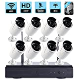 ZY Wifi Wireless Network/IP Security Camera System Video Surveillance CCTV NVR Kits Plug&Play, P2P,with 8PCS of HD 1080P IP66 Waterproof Outdoor IP Bullet Camera (With 2TB HDD) (1080P)