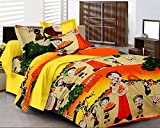 Kunal Retail Kunal Chota Bheem Kids Cotton Double Bedsheet With 2 Pillow Covers-Double,Multicolor