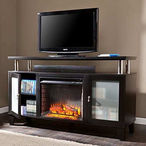 Southern Enterprises Southern Enterprises Peachtree Media Console Fireplace - Black, Wood