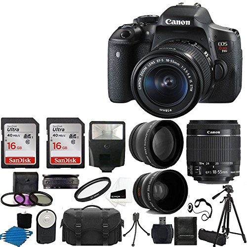 Canon EOS Rebel T6i DSLR CMOS Digital SLR Camera with EF-S 18-55mm f/3.5-5.6 IS STM Lens + 2x Professional Lens +High Definition 58mm Wide Angle Lens + Tripod + UV Kit + 32GB Deluxe Accessory Bundle