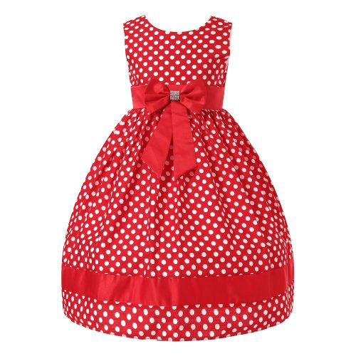Richie House Girl'S Polka Dotted Dress With Bow Rh0795-3/4-Fba