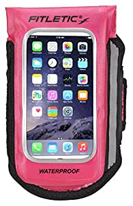 Fitletic Hydralock - Waterproof Sports Armband - Mobile Phone Case fits Galaxy Smartphones and iPhone 6, (Pink, L/XL)