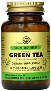 Solgar Full Potency Chinese Green Tea Vegetable Capsules, 50 Count
