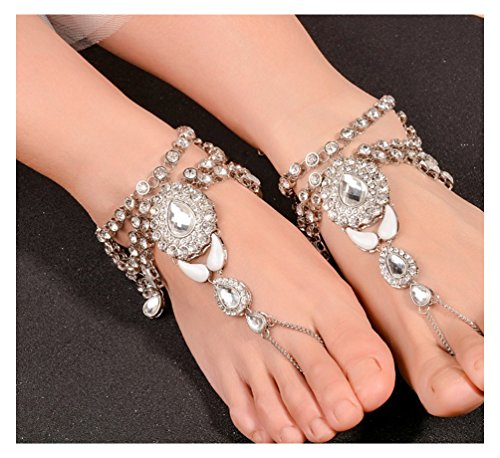 Cavigliera stile orientale anklet con strass e cristalli effetto oro di DesiDo® (argento)