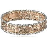 14k Italian White Gold Embossed Band Ring