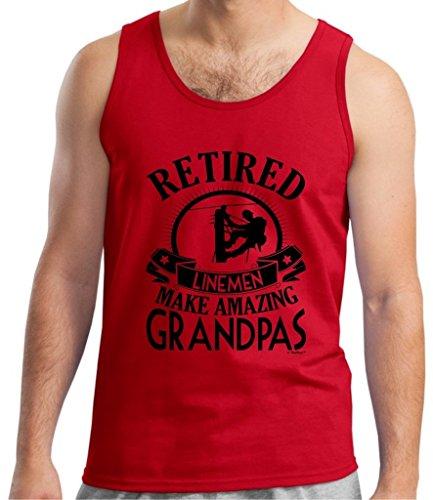 Retirement Grandpa Gift Retired Lineman Tank Top Large Red