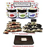 Tea Gift Set Including 40 Fairtrade and Berry Herbal Tea Bags Individually Wrapped and Boozy Jams and Preserve