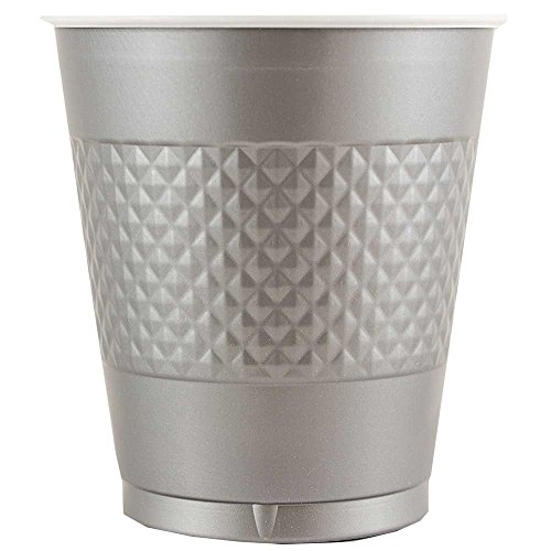 JAM Paper® Tablewares - Plastic Party Cups - 12 oz - Silver - 20 Cups per Pack (Decorative Plastic Ware compare prices)