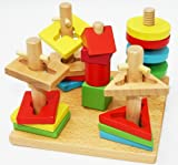 Wooden Shape Sorter Stacker Puzzle Game - mind game children brain teaser game