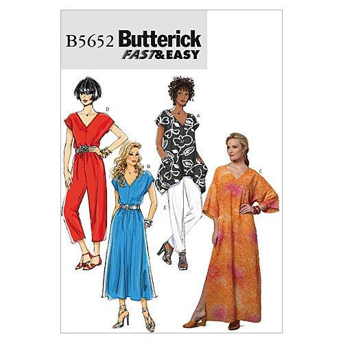 Butterick Patterns B5652 Misses' Top, Dress, Caftan, Jumpsuit and Pants, Size Y (XSM-SML-MED)