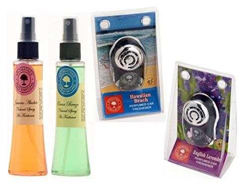 Aromatree Air Fresheners (jasmine Absolute 75 Ml, Ocean Breeze 75 Ml, Hawaiian Beach 10 Ml, English Lavender 10 Ml) Pack Of 4 Image
