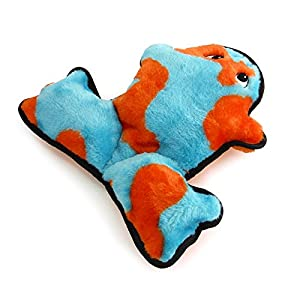 Kyjen 2946 Invincibles Plush Frog Stuffingless Durable Dog Toy with 4-Squeakers, Small, Blue