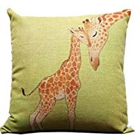 Goy Giraffe and Its Mother Throw Pillow Case Decor Cushion Covers Square 18*18 Inch Beige Cotton Blend Linen by deardeer